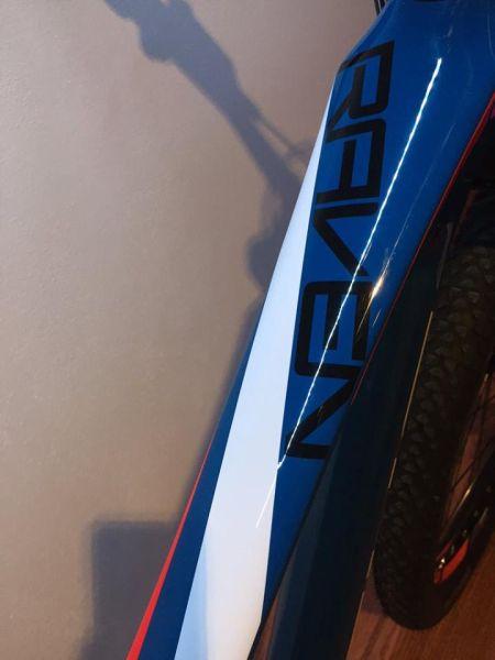 Detail - název/označení zakomponované do designu rámové trubky - RAVEN